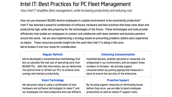 Intel IT Best Practices: PC Fleet Management
