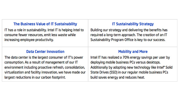 Intel IT Business Value: Executive Insights – IT Sustainability